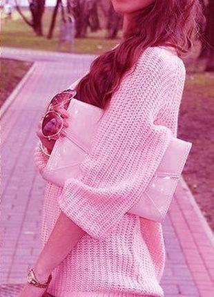 Свитер оверсайз розовый большого размера