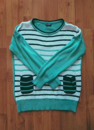Кофта вязаная кофточка морская кофта светлая свитер новогодний свитер теплый