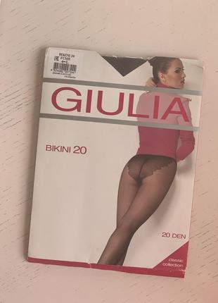 Колготки женские giulia bikini fume с ажурными трусиками, 20 den, размер 4 l