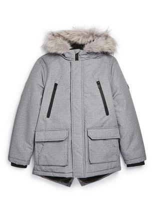 Куртка парка утеплённая мехом евро зима меланж