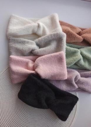 Теплі зимові повязки чалма на голову ангорова повязка
