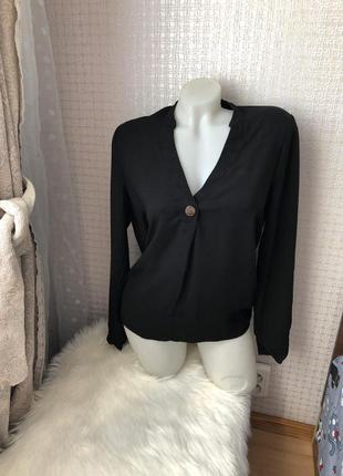 Чёрная базовая рубашка блузка блуза с рукавом