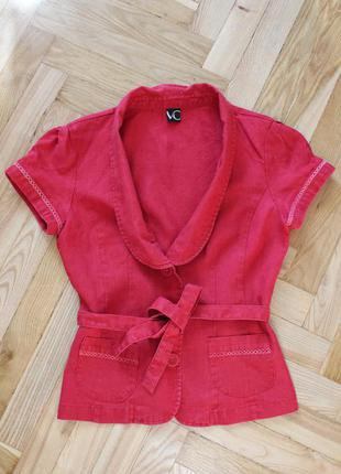 Льняной красный пиджак с поясом