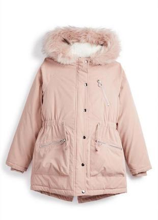 Красивая куртка парка пудра с мехом