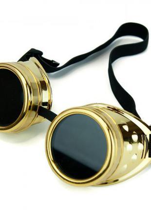 Очки стимпанк гогглы премиум цвет золотой металлик + подарок