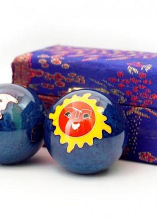 9290017 массажные шары баодинга пара эмаль солнце луна синие