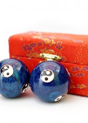 9290016 массажные шары баодинга пара эмаль инь ян синие