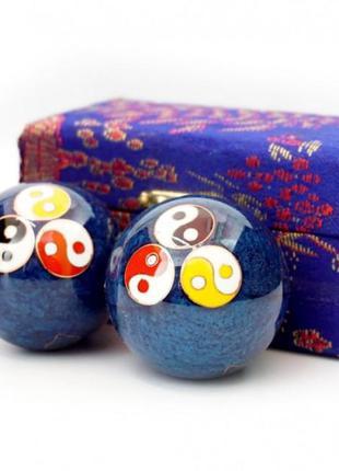 9290017 массажные шары баодинга пара эмаль тройной инь ян синие