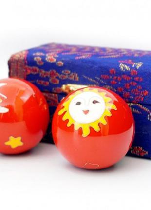 9290017 массажные шары баодинга пара эмаль солнце луна красные