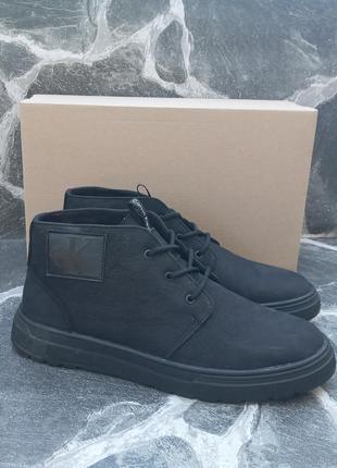 Мужские зимние ботинки calvin klein черные, кожаные