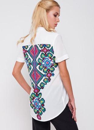 Рубашка женская белая с рисунком на спине