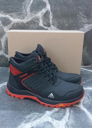 Мужские зимние ботинки adidas terrex winter кожаные, черные