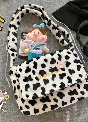 Мягкая сумка принт коровы 2022 а4