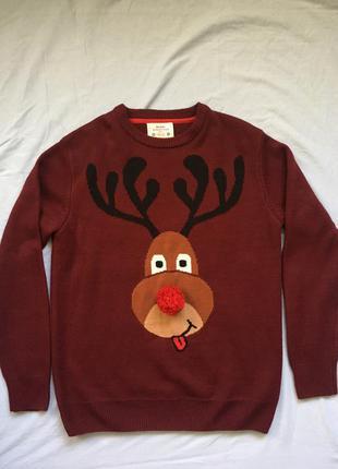 Новогодний свитер олень next оверсайз