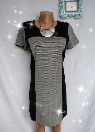 ***распродажа!***замечательное трикотажное комбинированное платье, ёлочка, размер наш 46-48, сост хо