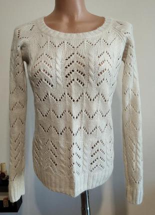 Теплый ажурный пуловер джемпер женский. шерсть, ангора.  англия.