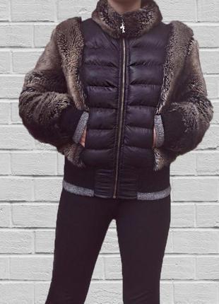 Куртка со вставками искусственного меха полушубок
