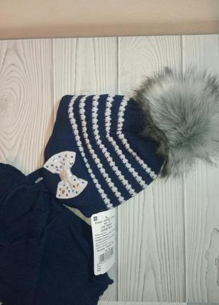 Шапка шарф зимний комплект набор синий с большим бубоном помпоном agbo польша