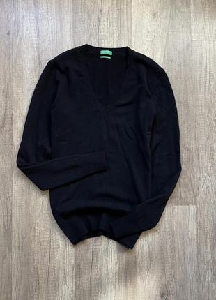 Стильный черный свитер, джемпер, кофта шерсть мериноса united colors of benetton, р.s/m