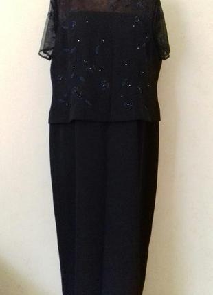 Нарядное длинное красивое платье с вышивкой большого размера debenhams