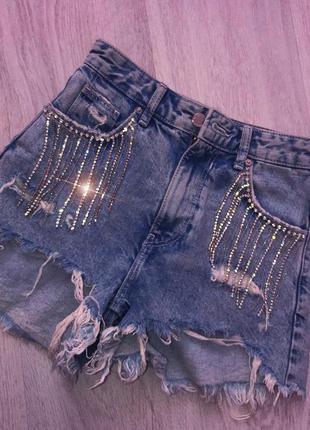 Шикарные рваные джинсовые шорты камни стразы xs
