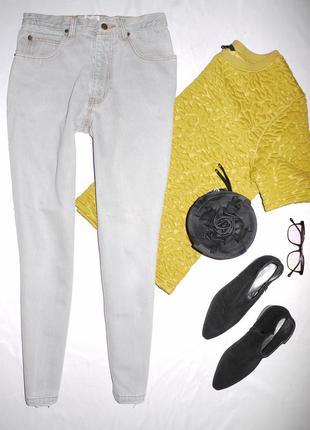 Серые мам джинс (  mom fit , бананы , бойфренды на талию ) / джинсы из 100% коттона
