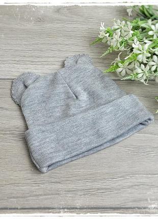Трикотажная шапочка с ушками для новорожденных 56р