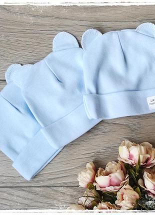 Трикотажная шапочка с ушками для новорожденных 62р