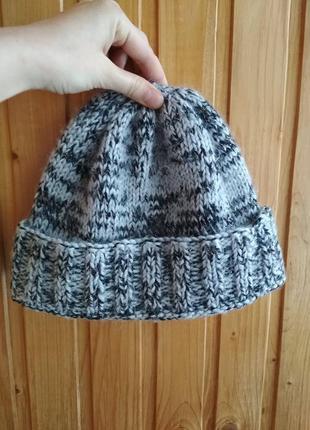 Sale!!! шапка с подворотом крупной вязки