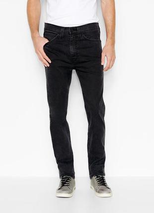 Чорні джинси від левіс, преміум лінійка levi's line 8 slim straight 511 jeans black mid