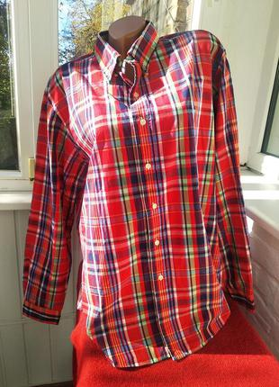 Удлиненная хлопковая стильная рубашка в клетку polo ralph lauren