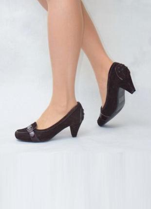 Удобные кожа замша туфли размер 40