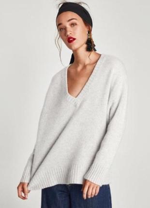 Кашеміровий оверсайз пуловер zara. 100% кашемир
