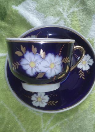 Чайная пара. яблоневый яблочный цвет фарфор кобальт довбыш чашка блюдце чашка+блюдце 1 сорт