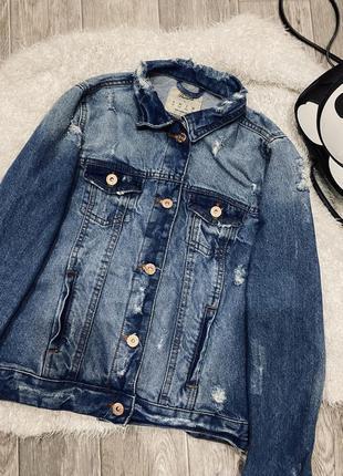 Новая джинсовая рваная куртка джинсовка denim co