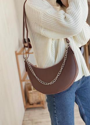 Темно пудровая сумка полукруглая сумка с цепочкой сумка с цепью кроссбоди сумка темная пудра