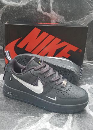 Подростковые кроссовки nike air force кожаные.серые.демисезонные