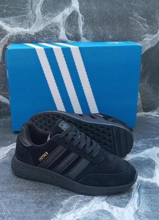 Подростковые кроссовки adidas iniki черные.замшевые