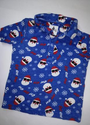 Футболка,поло, новогодняя футболка, футболка с дедом морозом