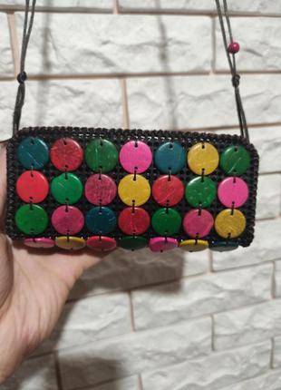 Маленькая сумочка кошелек ручная работа на основе пластикой канвы