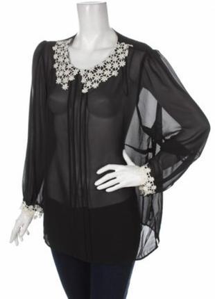 Стильная блуза с оригинальным воротником, большой размер