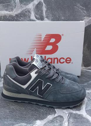 Подростковые кроссовки new balance 574 серые.замшевые.