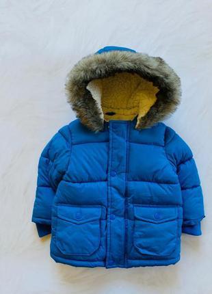 F&f  стильная зимняя  куртка  на меху на мальчика  12-18 мес