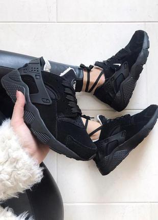 Air huarache black зимние кроссовки