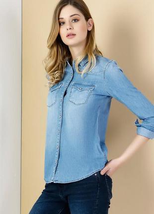 Новая джинсовая рубашка colins, р.s