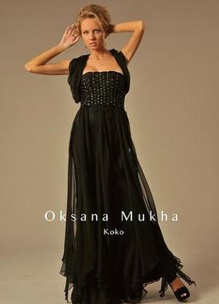 Черное вечернее выпускное платье украшено бисером бренд oksana mukha
