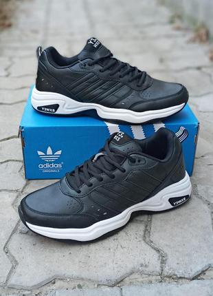 Мужские кроссовки adidas y-3 кожаные.черные.демисезонные