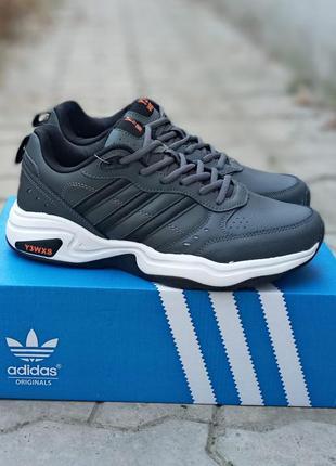 Мужские кроссовки adidas y-3 кожаные.серые