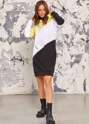 Желто-чёрное тёплое платье-толстовка с капюшоном