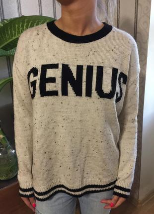 Вязаный белый свитер оверсайз topshop